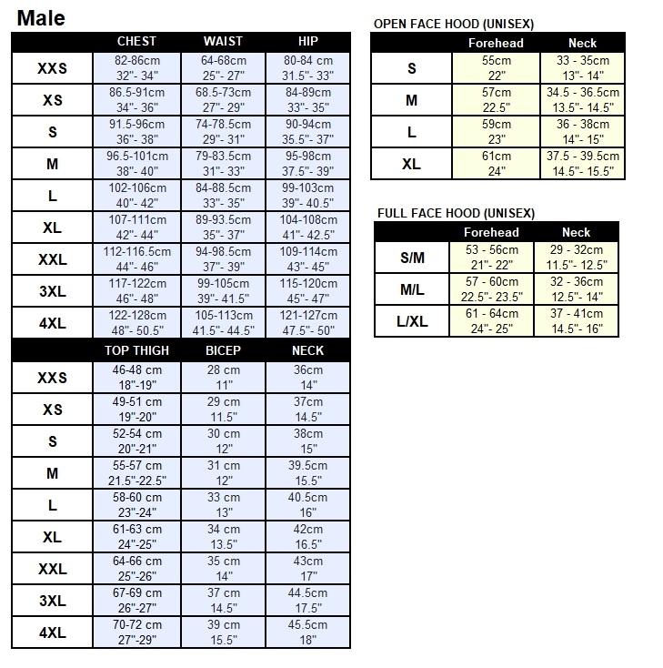 FF Male Size Charts